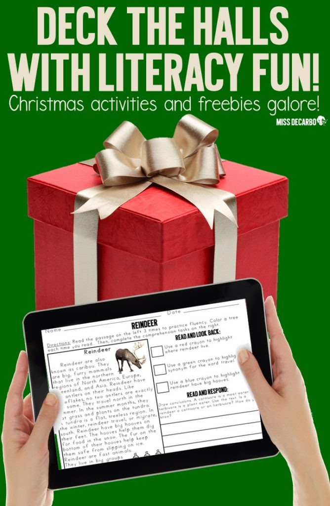 Christmas reading activities, ideas, games, and a FREE Christmas word bank printable! Use the Christmas writing freebie with your word work center and during writer's workshop.