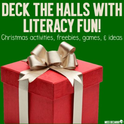 Christmas reading activities, ideas, games, and a free Christmas writing page to use for word work centers and writer's workshop.