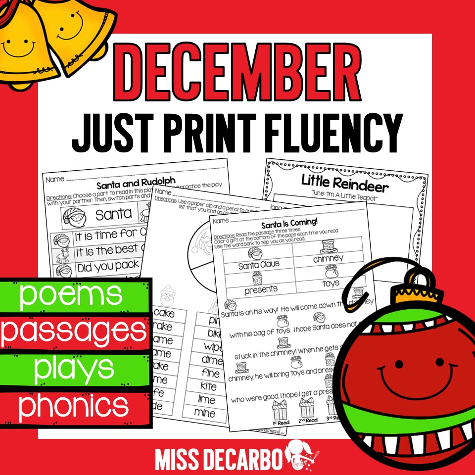 A printable pack of Christmas fluency activities, songs, poems, passages, and phonics worksheets for primary students.