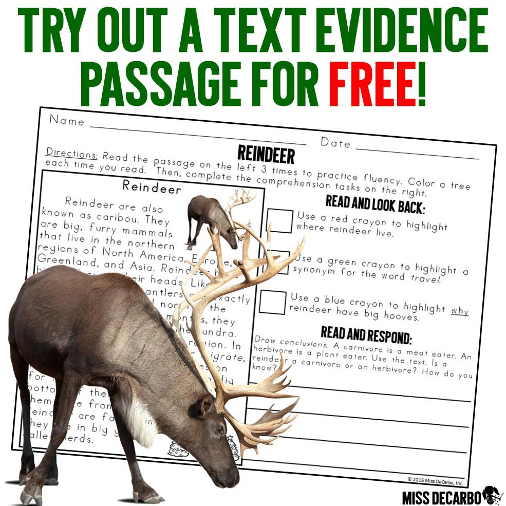 Get a FREE Christmas reindeer reading comprehension passage to try out in your classroom! These text evidence passages are great to use for Christmas reading lessons!