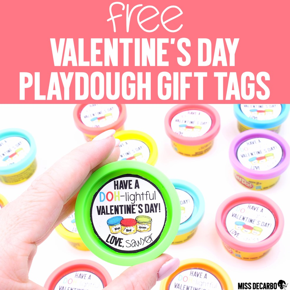 These FREE Valentine's Day playdough gift tags make the perfect student gifts for classrooms and daycare. Simply print, cut, and attach to mini play dough containers.