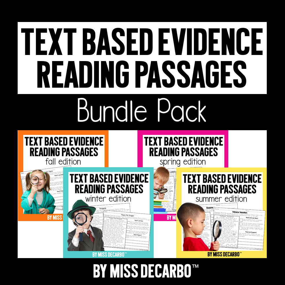 How to teach text evidence skills to primary readers! Get lessons, activities, and ideas for helping beginning readers improve comprehension by learning how to go back into the text, show proof, and cite evidence.