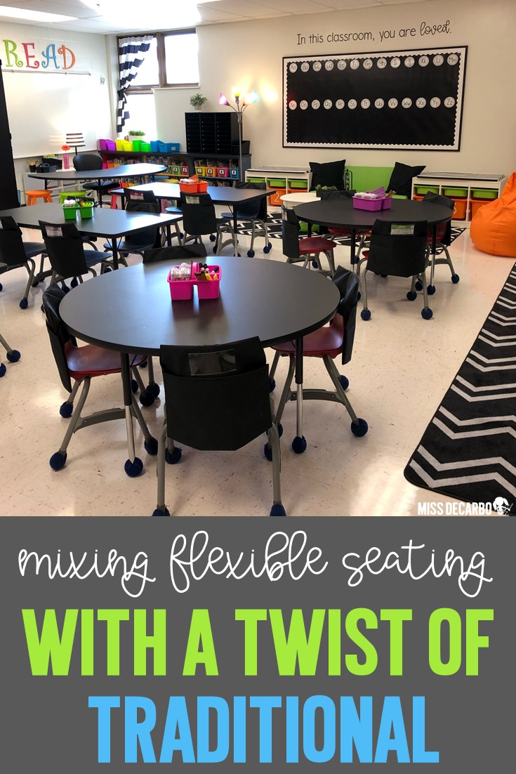 Merge flexible seating options with a twist of traditional seating by using tables for collaboration