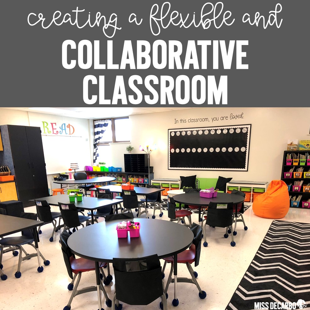 Flexible seating classroom with classroom tables