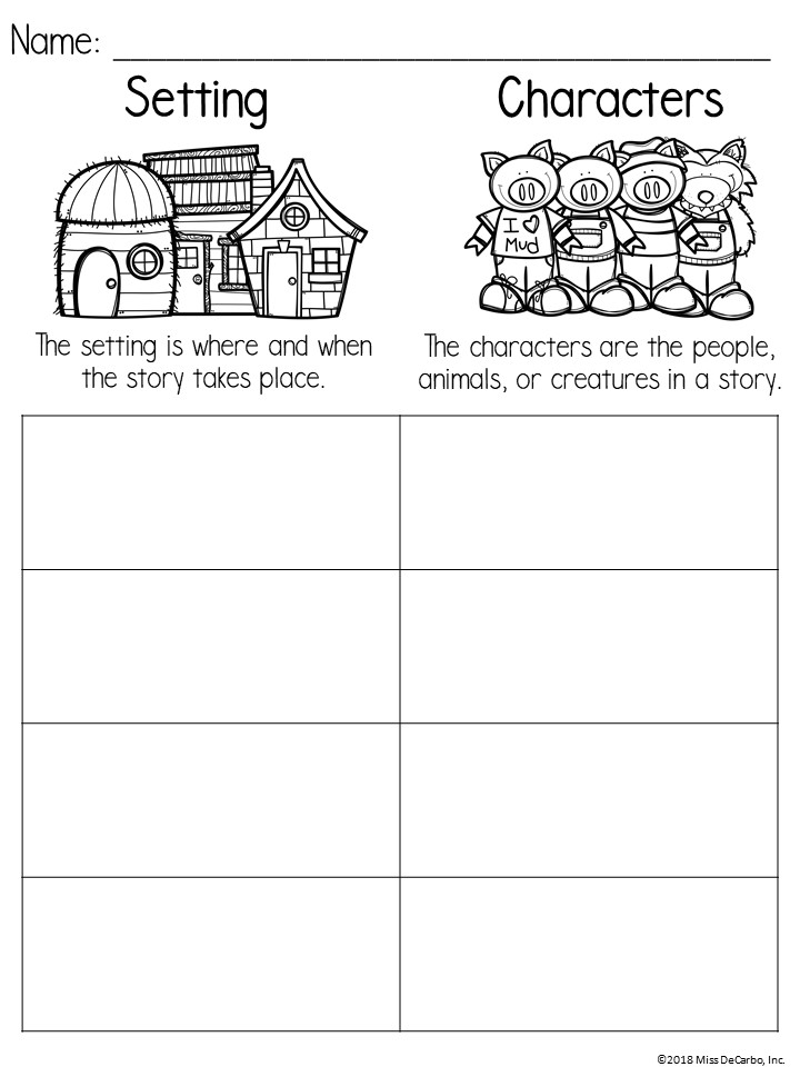 free setting and character printable graphic organizer and anchor chart resource