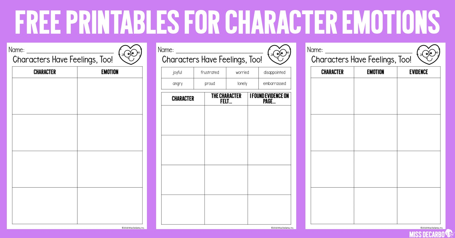FREE printables and graphic organizers to teach character emotions!