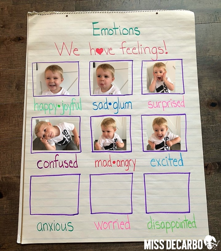 emotions and feelings anchor chart with student photographs