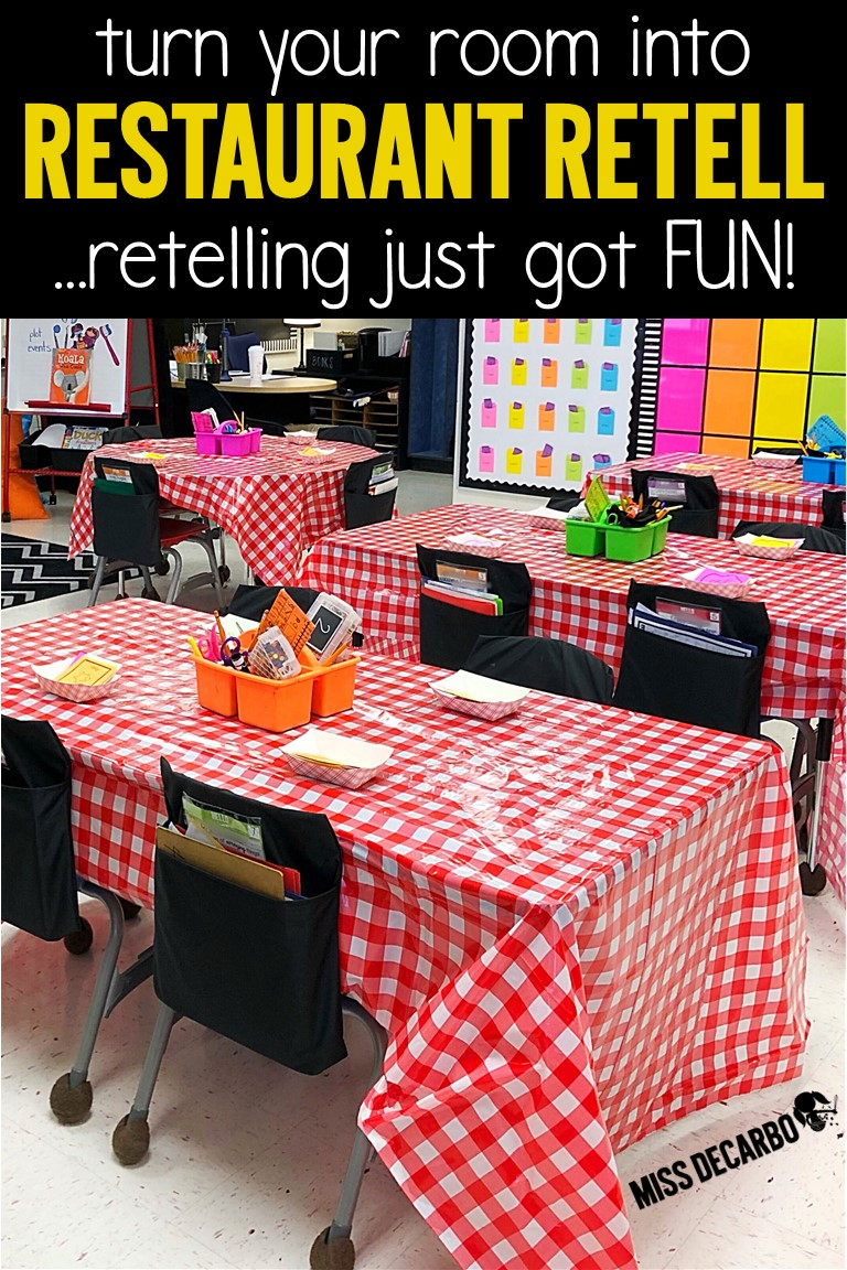 Retelling activities for a theme day called Restaurant Retell! Host a book buffet, make a retelling sandwich craft, order off of a reading menu with retelling reading passages, and more!