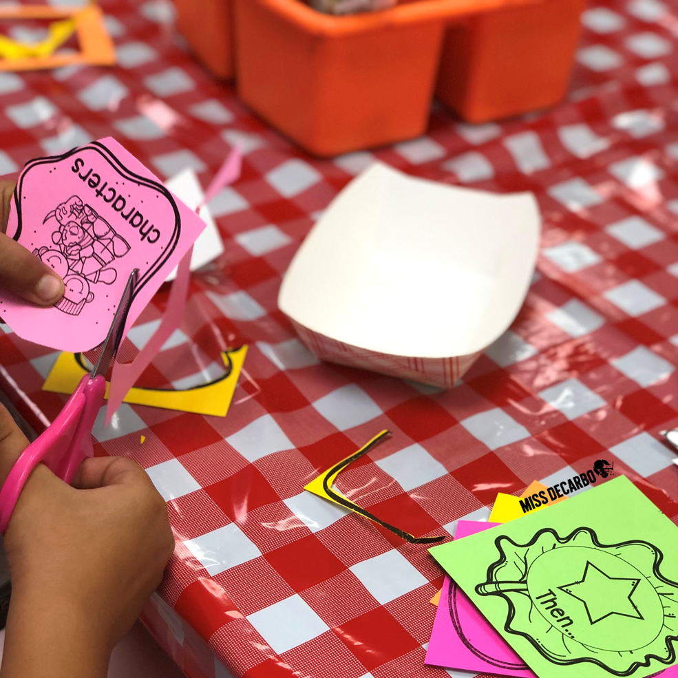 Cut out the retelling ingredients and use them for the retelling sandwich craftivity. Put the retelling sandwich in to-go boxes for a reading tool that students can take home to practice retelling!