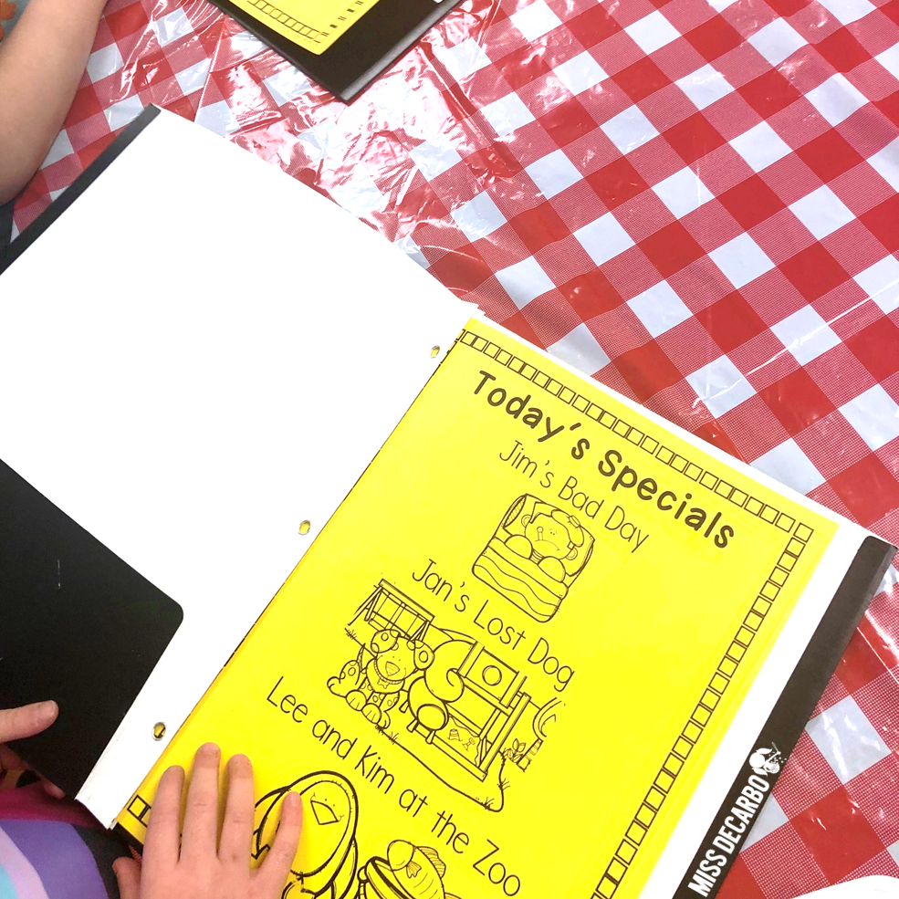 Students order off of a reading menu during Restaurant Retell's small group lessons. Students choose the retelling passage they want to practice reading and retelling.