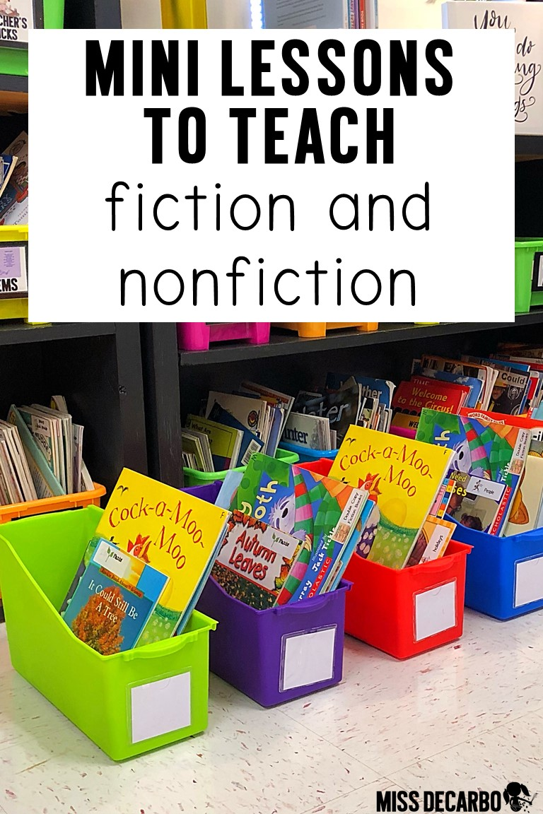Find four lessons to teach fiction and nonfiction text to your readers! #readingteacher #minilessons #firstgrade