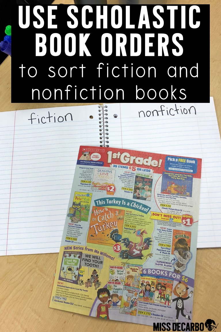 Use scholastic book club magazines to sort fiction and nonfiction books while you teach students how to identify fiction and nonfiction text! This is a great reading lesson that is hands-on!