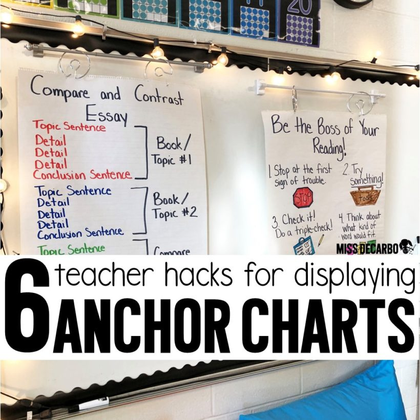 Learn 6 hacks for displaying your anchor charts and learn how to store and retrieve them with ease!