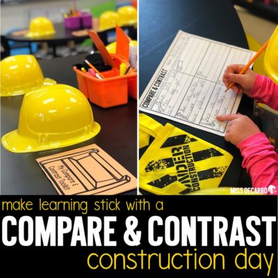 Teach compare and contrast using a construction theme day! Easily transform your classroom with this engaging reading mini-pack and a blog post filled with reading ideas!