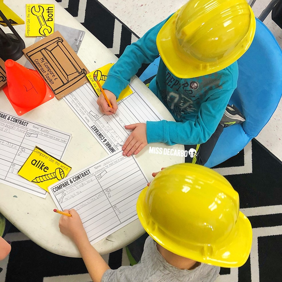 Students found their group's construction job site and used their toolkits to compare and contrast two stories together. Learn all about Compare and Contrast Construction Day in this idea-packed blog post!