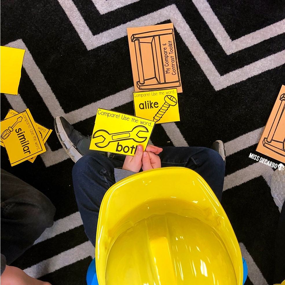 Compare and contrast toolkits and hard hats for an afternoon of learning! Compare and Contrast Construction Day was SO fun!