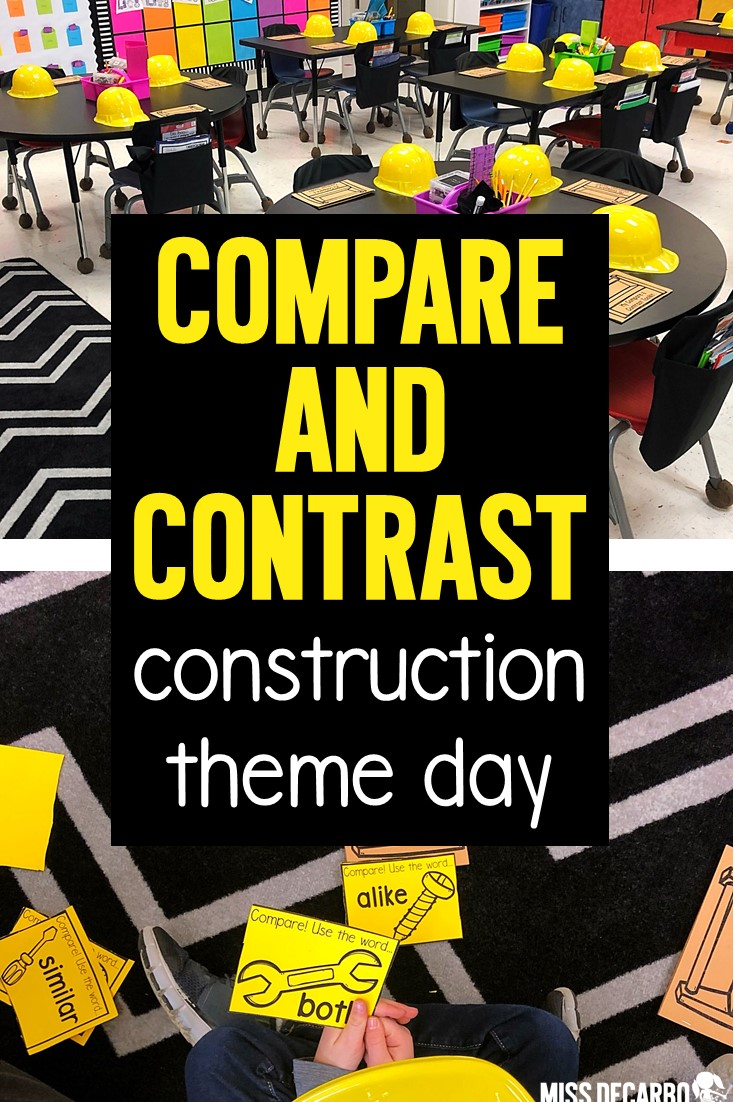 Hold a Compare and Contrast Construction Day to teach your readers the skills of comparing and contrasting with engagement, fun, rigor, and motivation! This blog post is packed with ideas, lesson plan resources, helpful suggestions, activities, and more! Make the skill of compare and contrast stick for your little readers!