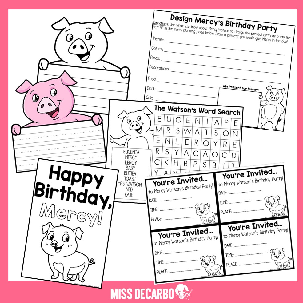 Mercy Watson birthday activities and printables