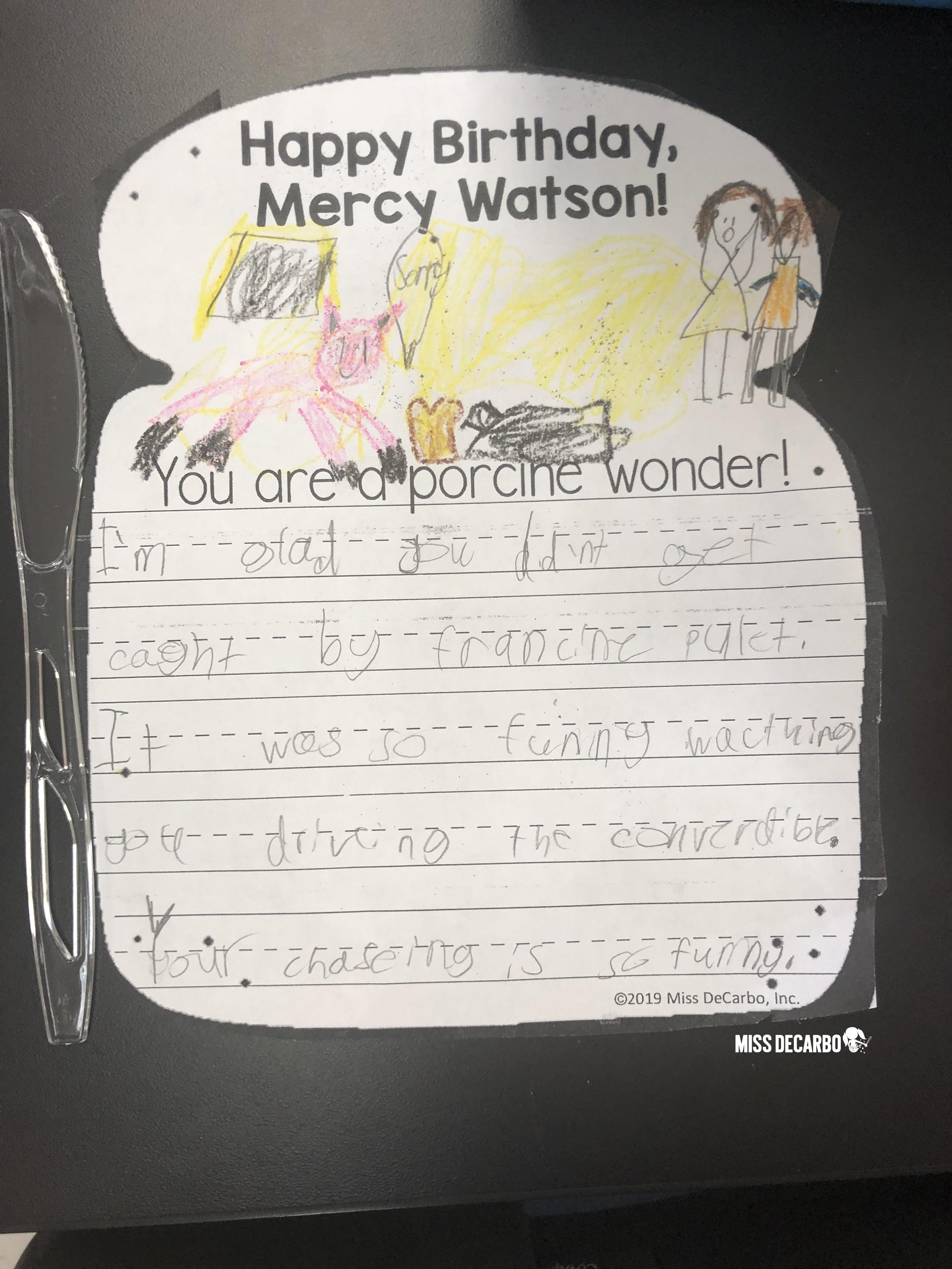 Mercy Watson character trait toast activity