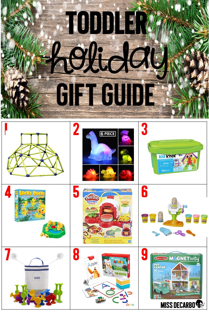 Toddler Holiday Gift Guide - A list of toys and gifts that your three or four-year-old toddler will LOVE this holiday season! These gift ideas are perfect for Christmas and birthday presents! They promote creativity, imagination, and problem-solving!