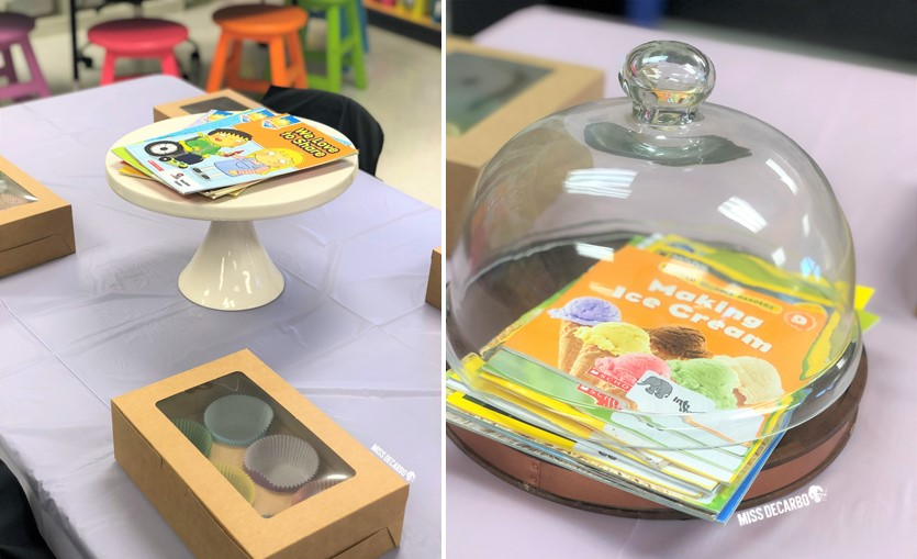 Use various cake stands and dessert stands to display the books during your classroom Book Bakery! Each table contained a different reading genre for students to read and explore!