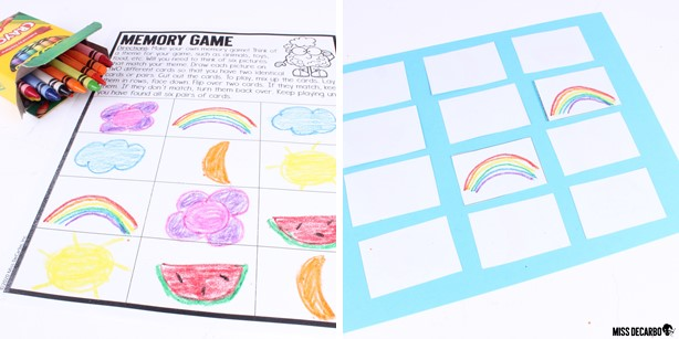 Students will make their own memory game in this socially distanced indoor recess activity. It is part of 12 games in my Indoor Recess Games for Social Distancing. These games are perfect for the classroom!