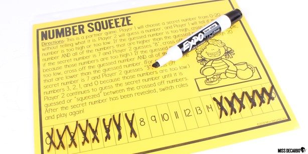 12 Indoor Recess Games for Social Distancing. Number Squeeze is a partner game that can be placed in your students' indoor recess binders.