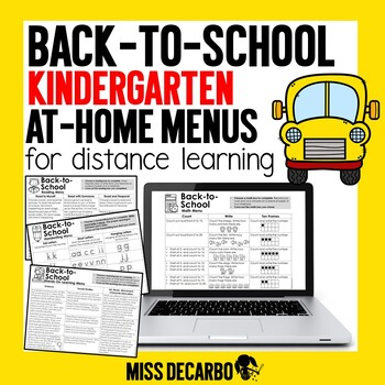 Back to School Kindergarten At-Home Learning Menus for Distance Learning