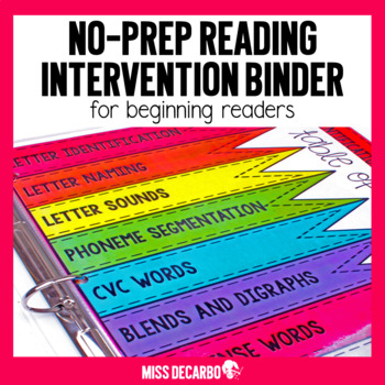 Reading Intervention Binder for Beginning Readers No Prep ELA SOR Aligned