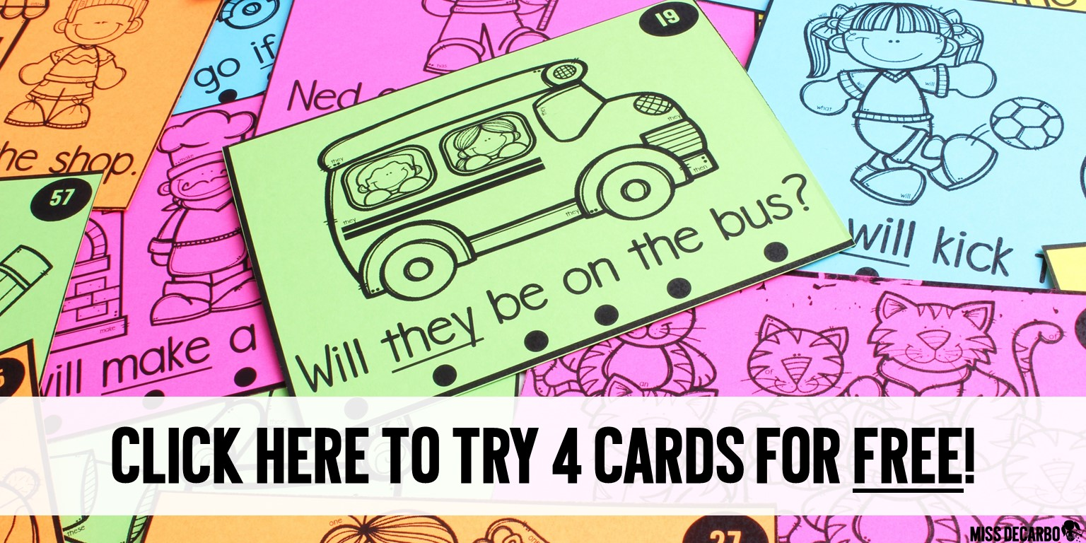 Click here to try out four Visual Discrimination Sight Word Practice Cards for FREE!