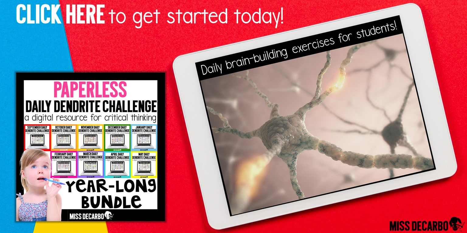 The Daily Digital Dendrite Challenge is a paperless, digital resource that provides a daily brain building exercise for primary students!