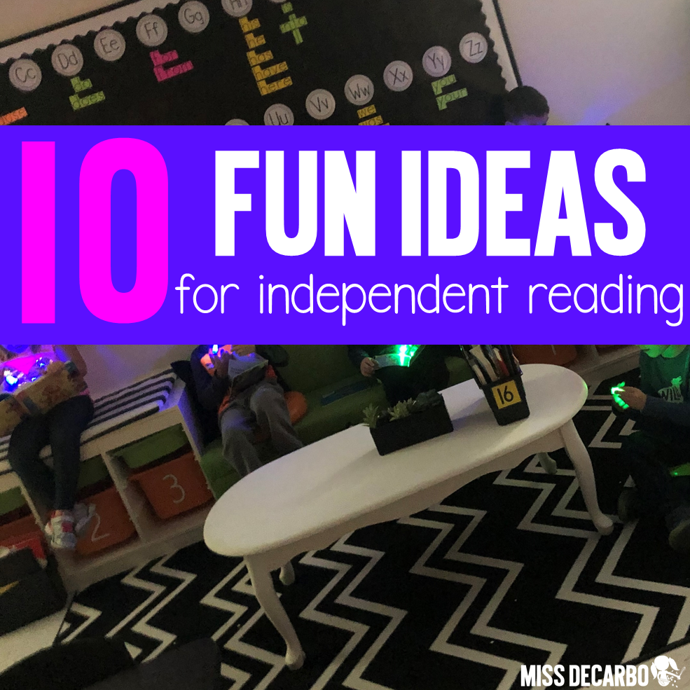 10 ideas to use during independent reading time when your students need re-energized and motivated!