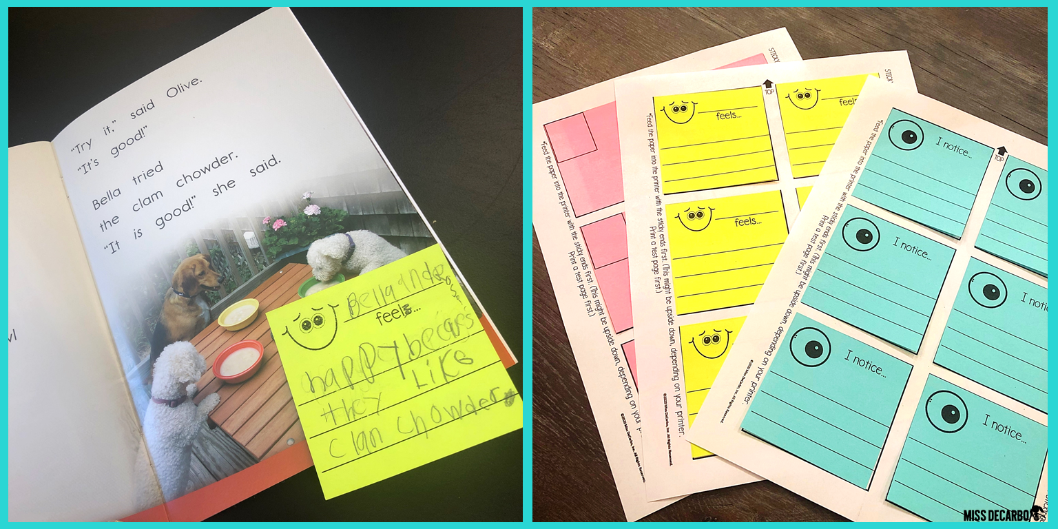Students use sticky notes to stop and jot while they read using the Think and Read pack with printable templates.