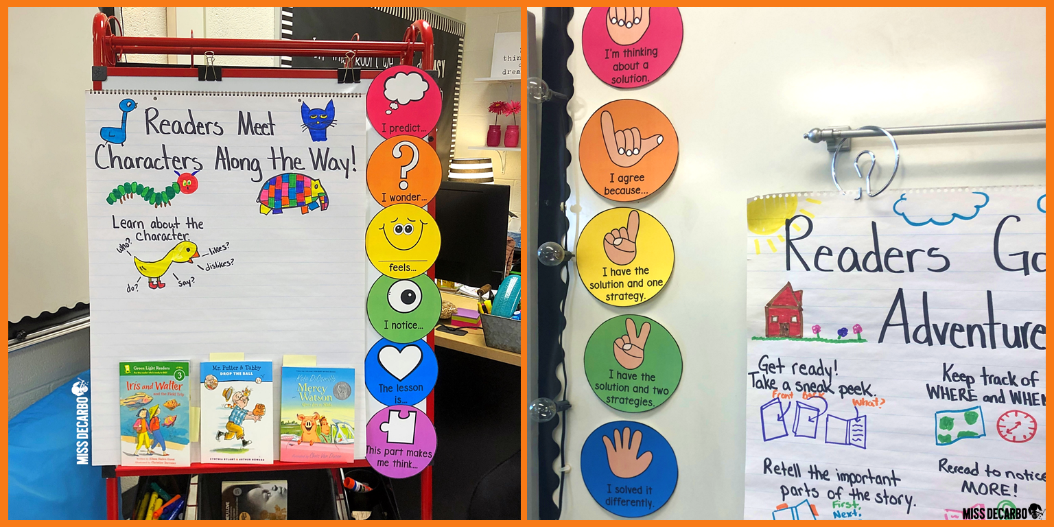 Magnet circles make posters like these Read and Think and Number Talk signs interactive and moveable around the classroom.