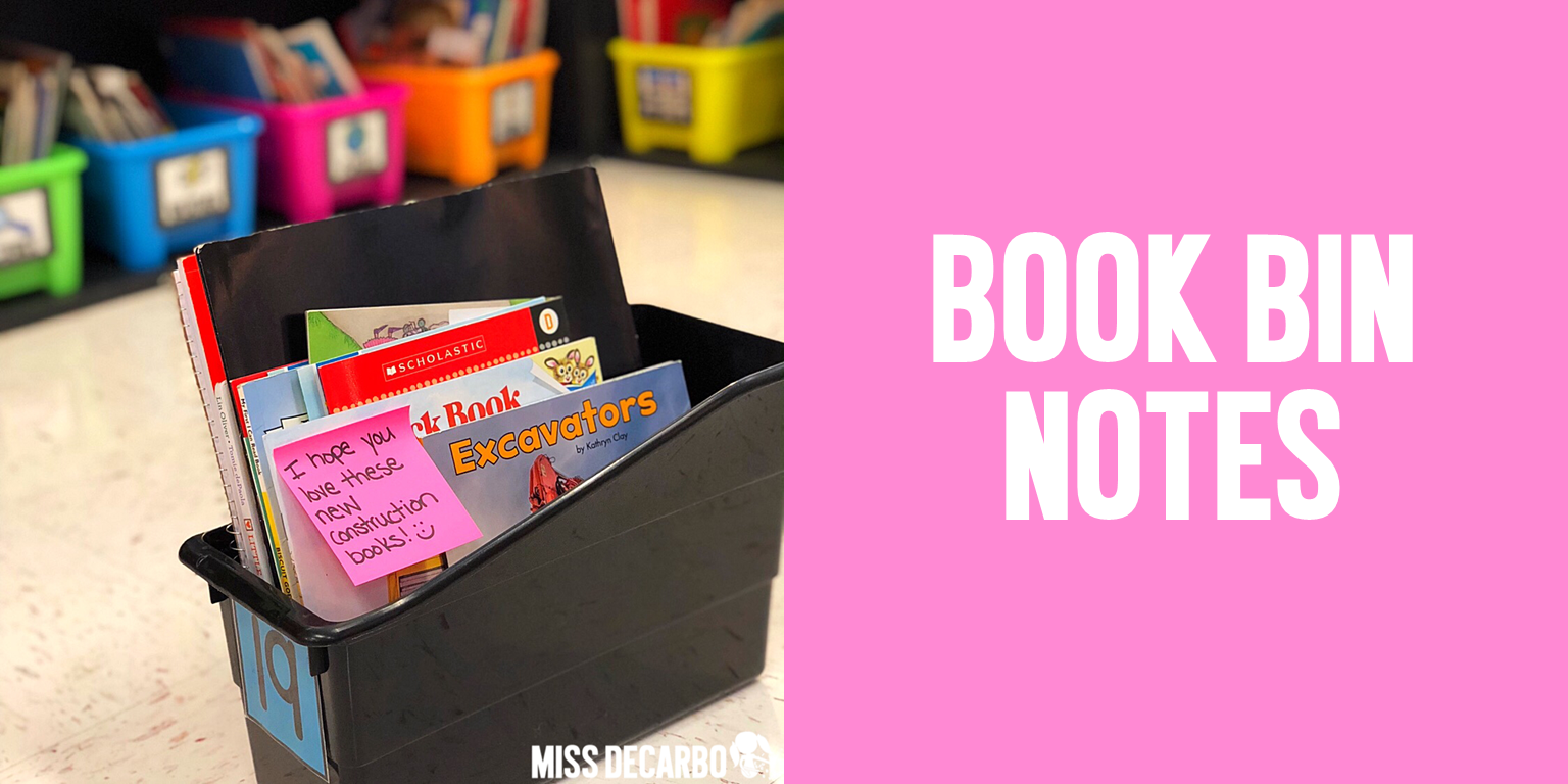 Leaving a book bin note for your students can fuel their excitement to read and their love for books!