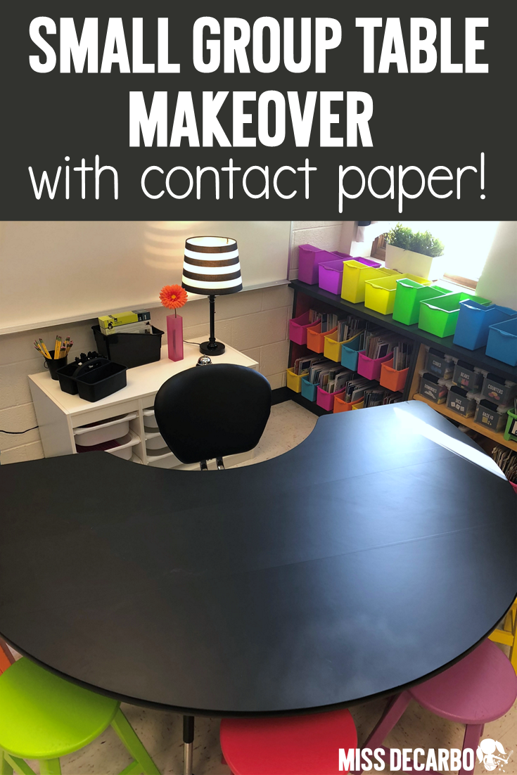 Give your small group table a makeover by covering it with contact paper! Visit this blog post to learn more about this classroom hack!