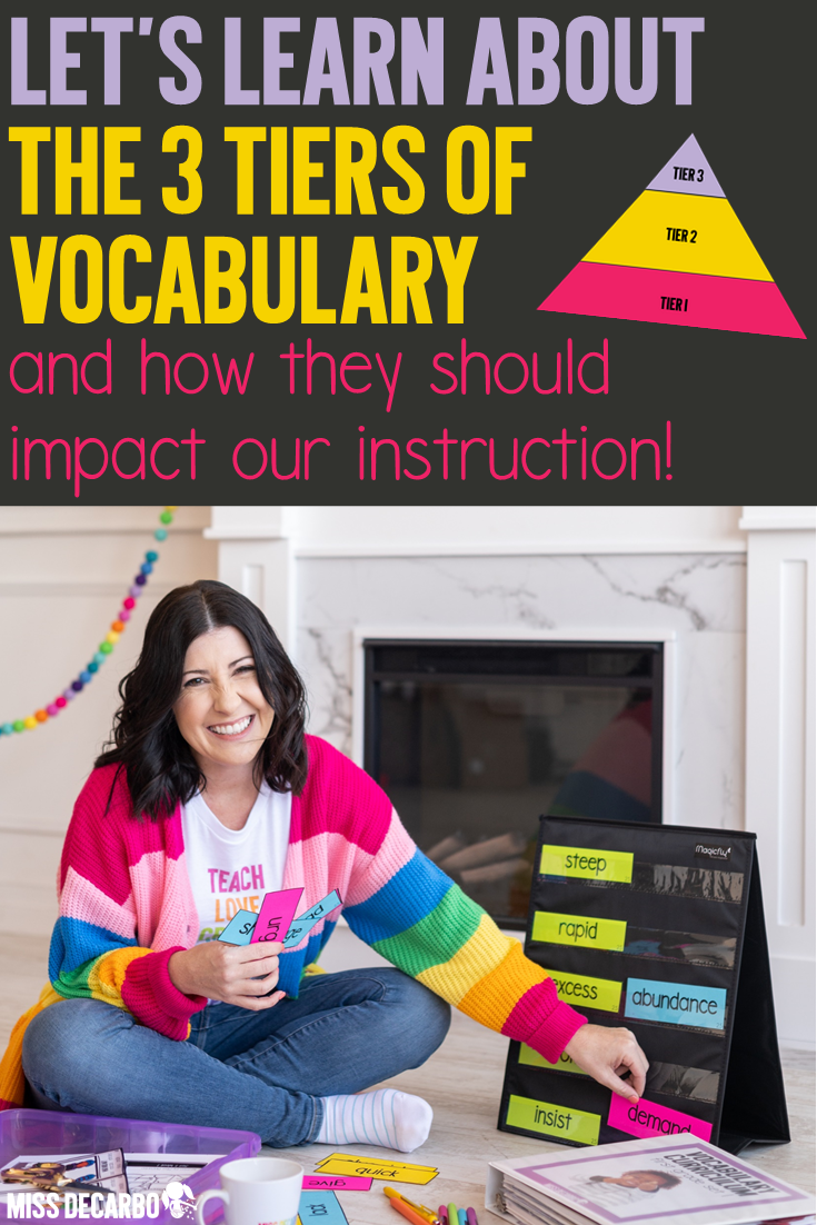Learn what the three tiers of vocabulary are, examples of words for each vocabulary tier, and what tier teachers should spend the most time on for instruction!