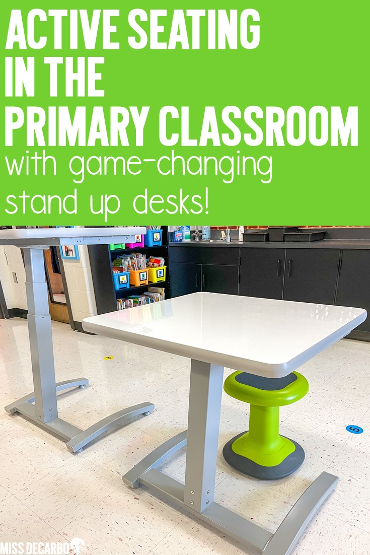 Stand up desk options and active seating solutions for the K-2 primary classroom!